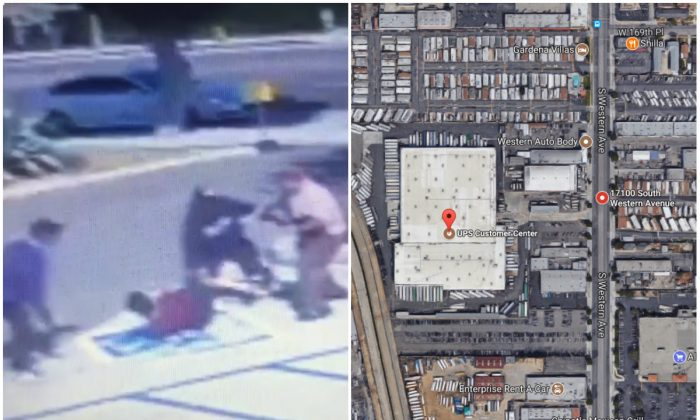 L: Security footage of a robbery near a UPS store in the 17100 block of Western Avenue, Gardena, Calif., on Sept. 7, 2017. (Gardena Police Department); R: A UPS store in the 17100 block of Western Avenue, Gardena, Calif. (Screenshot via Google  Maps)