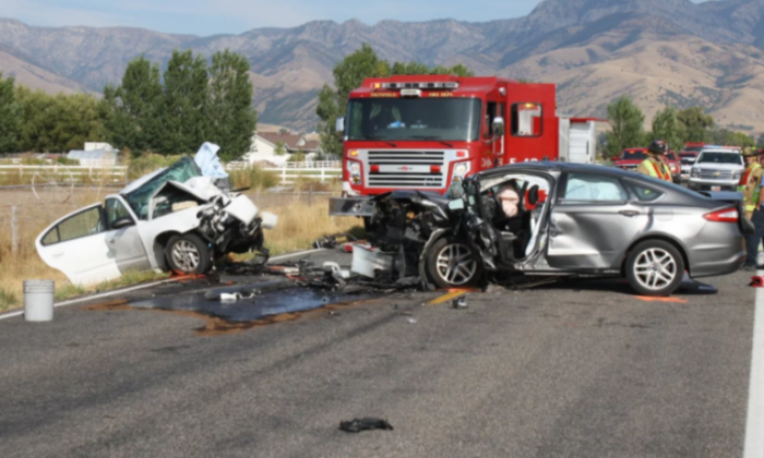 A mother was killed and her daughters were injured in the crash near Smithfield, Utah (Utah Highway Patrol)