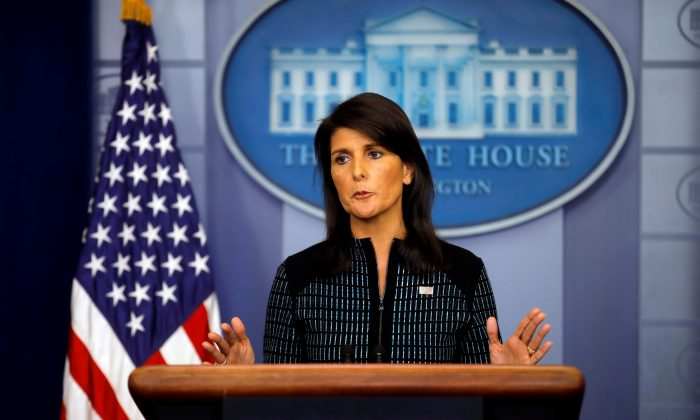 US Ambassador to the UN, Nikki Haley attends the daily briefing at the White House in Washington on Sept. 15, 2017. (REUTERS/Carlos Barria)