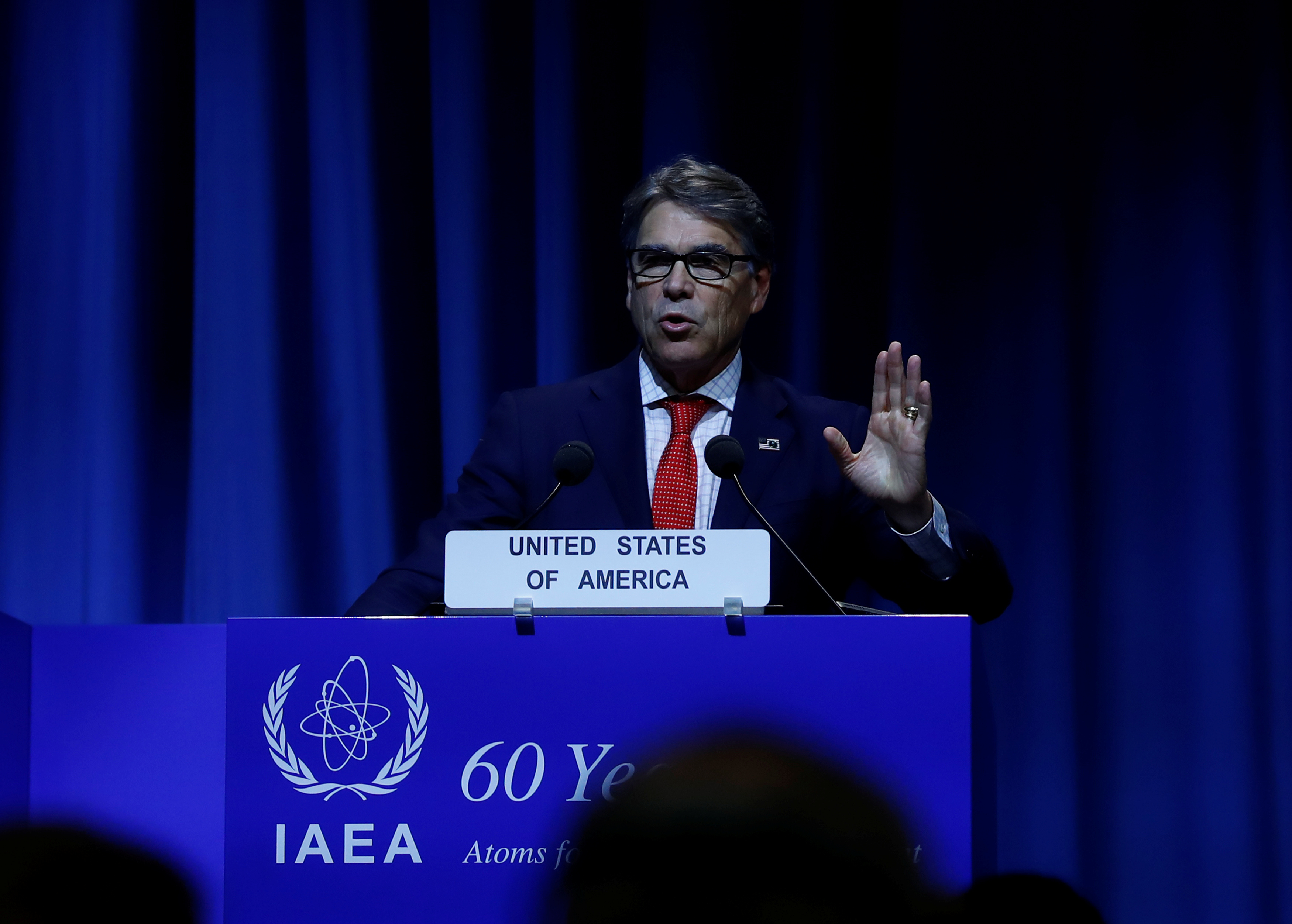 US Energy Secretary Rick Perry attends the opening of the International Atomic Energy Agency (IAEA) General Conference at their headquarters in Vienna, Austria on Sept. 18, 2017. (REUTERS/Leonhard Foeger)