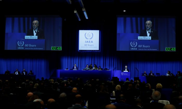 Head of Iran's Atomic Energy Organization Ali-Akbar Salehi attends the opening of the International Atomic Energy Agency (IAEA) General Conference at their headquarters in Vienna, Austria on Sept. 18, 2017. (REUTERS/Leonhard Foeger)