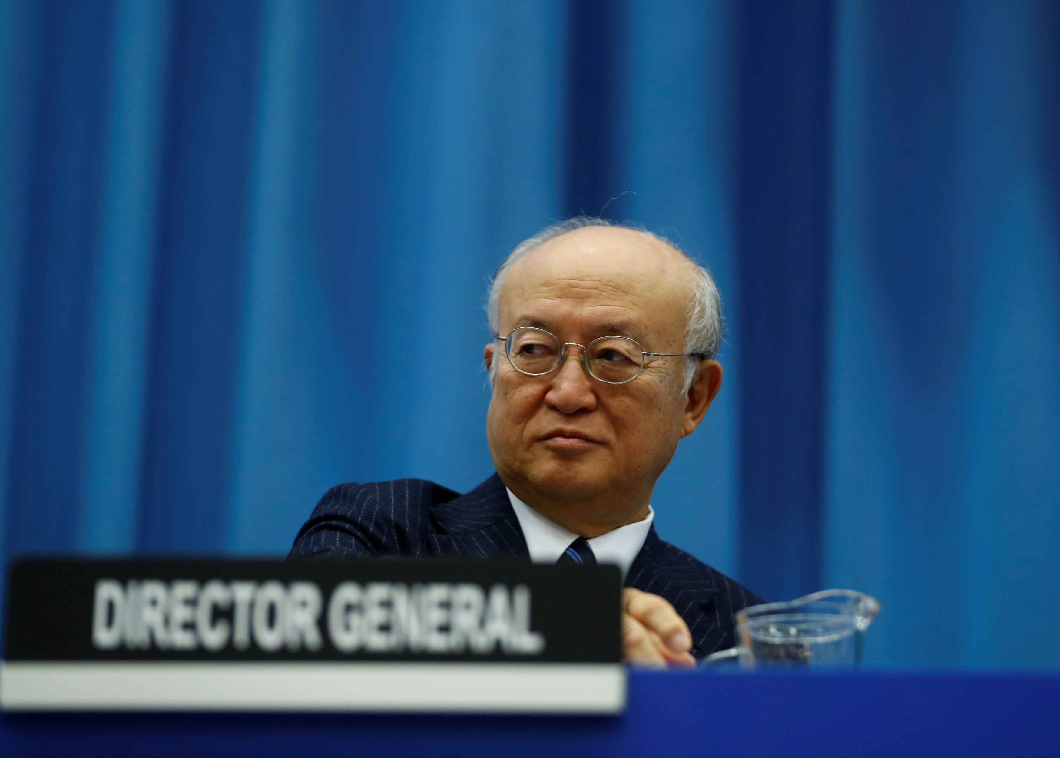 International Atomic Energy Agency (IAEA) Director General Yukiya Amano attends the opening of the General Conference at the IAEA headquarters in Vienna, Austria on Sept. 18, 2017. (REUTERS/Leonhard Foeger)
