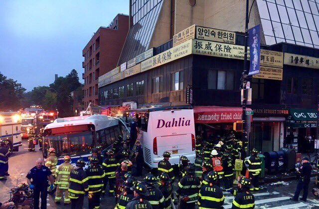A transit bus and a tour bus collided in Flushing, New York City on Sept. 17, 2017. (FDNY)