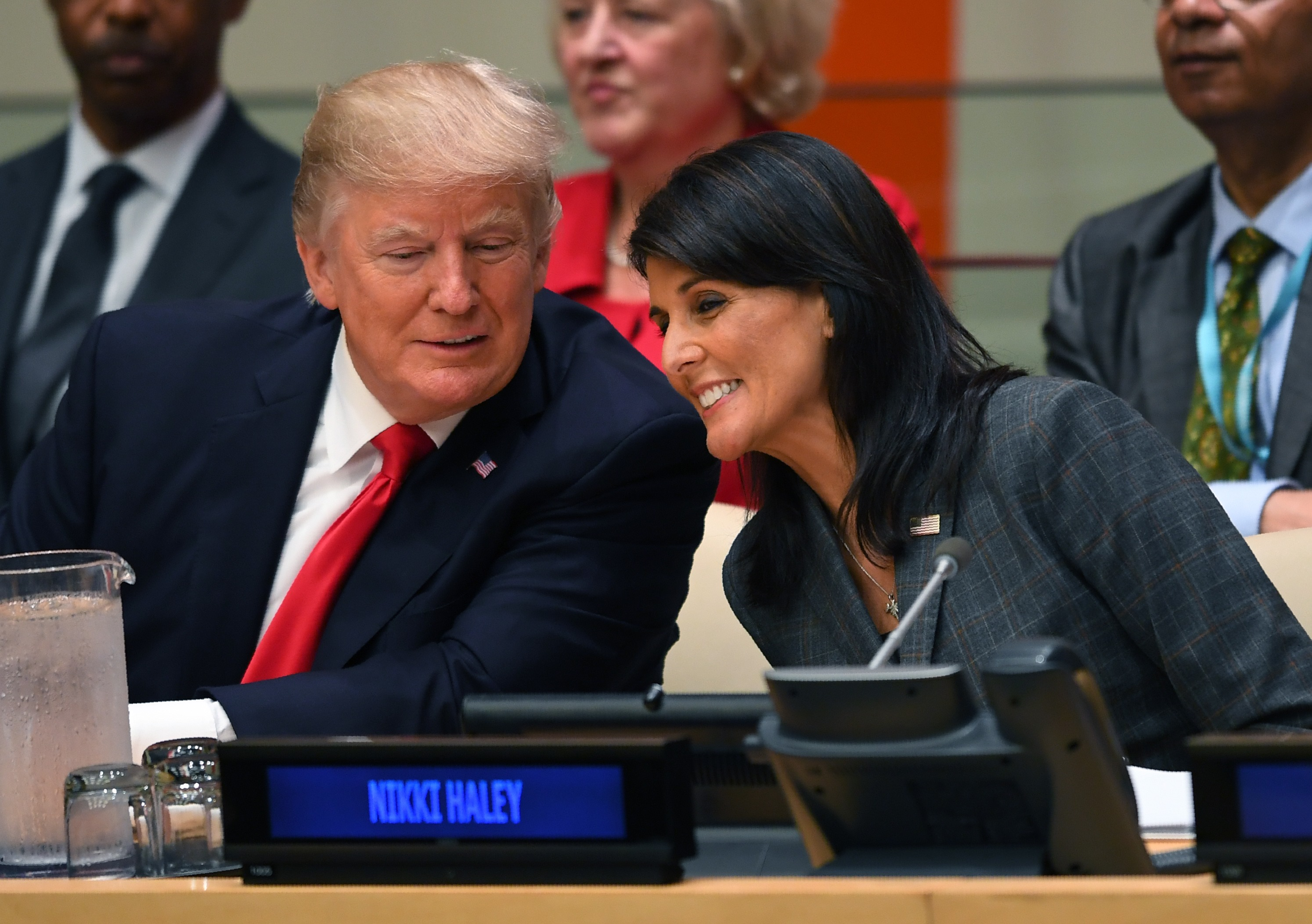 President Donald Trump and US ambassador to the United Nations Nikki Haley during a meeting on United Nations Reform at the United Nations headquarters in New York on Sept.r 18, 2017. (TIMOTHY A. CLARY/AFP/Getty Images)