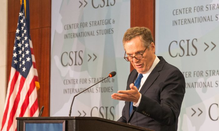 "United States Trade Representative Robert Lighthizer said on Monday that China's manipulative trade practices and economic model represent an ""unprecedented threat'. (Paul Huang/The Epoch Times)"