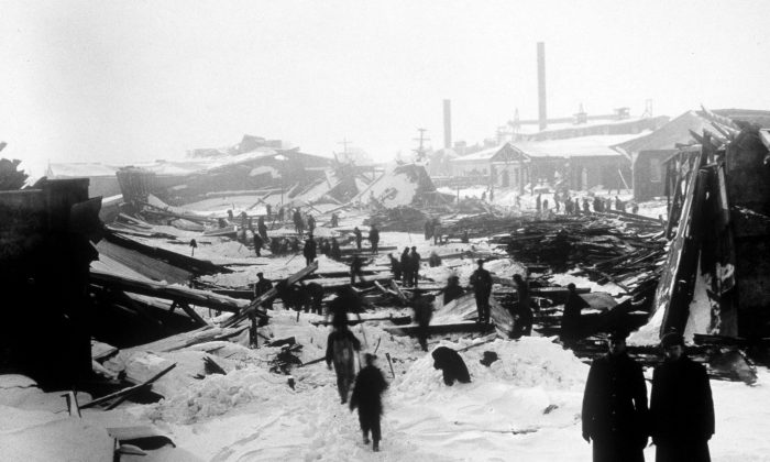 File photo of the aftermath of the 1917 Halifax ship explosion. A fresh generation of children's books is finding the grace notes in Halifax's worst moment, a massive explosion that levelled much of the city 100 years ago but inspired acts of kindness that still resonate. (THE CANADIAN PRESS/National Archives of Canada)