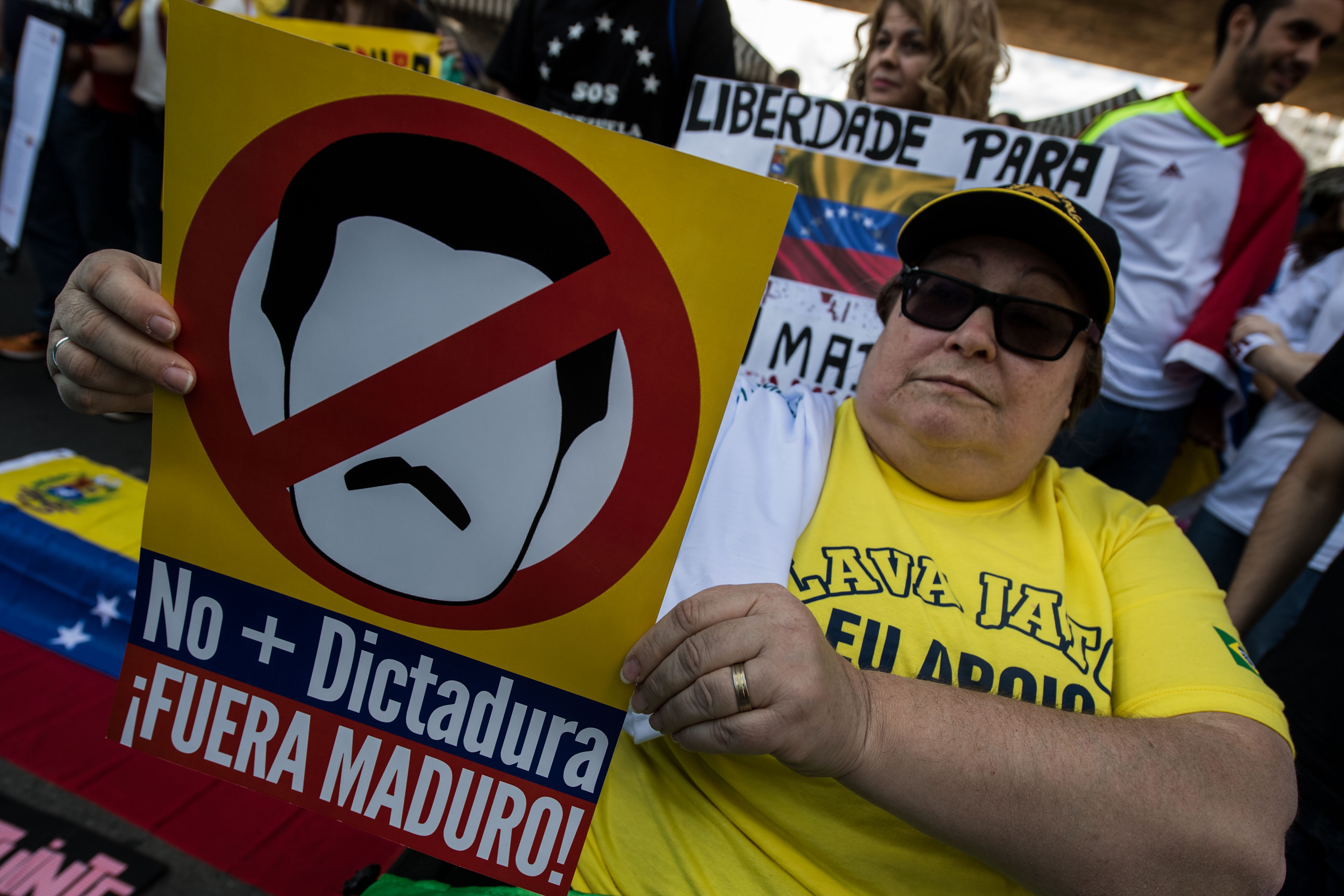 Venezuelan people living in Brazil protest against the election of the Constituent Assembly in Venezuela, at Paulista Avenue in Sao Paulo, Brazil, on July 30, 2017. (NELSON ALMEIDA/AFP/Getty Images)
