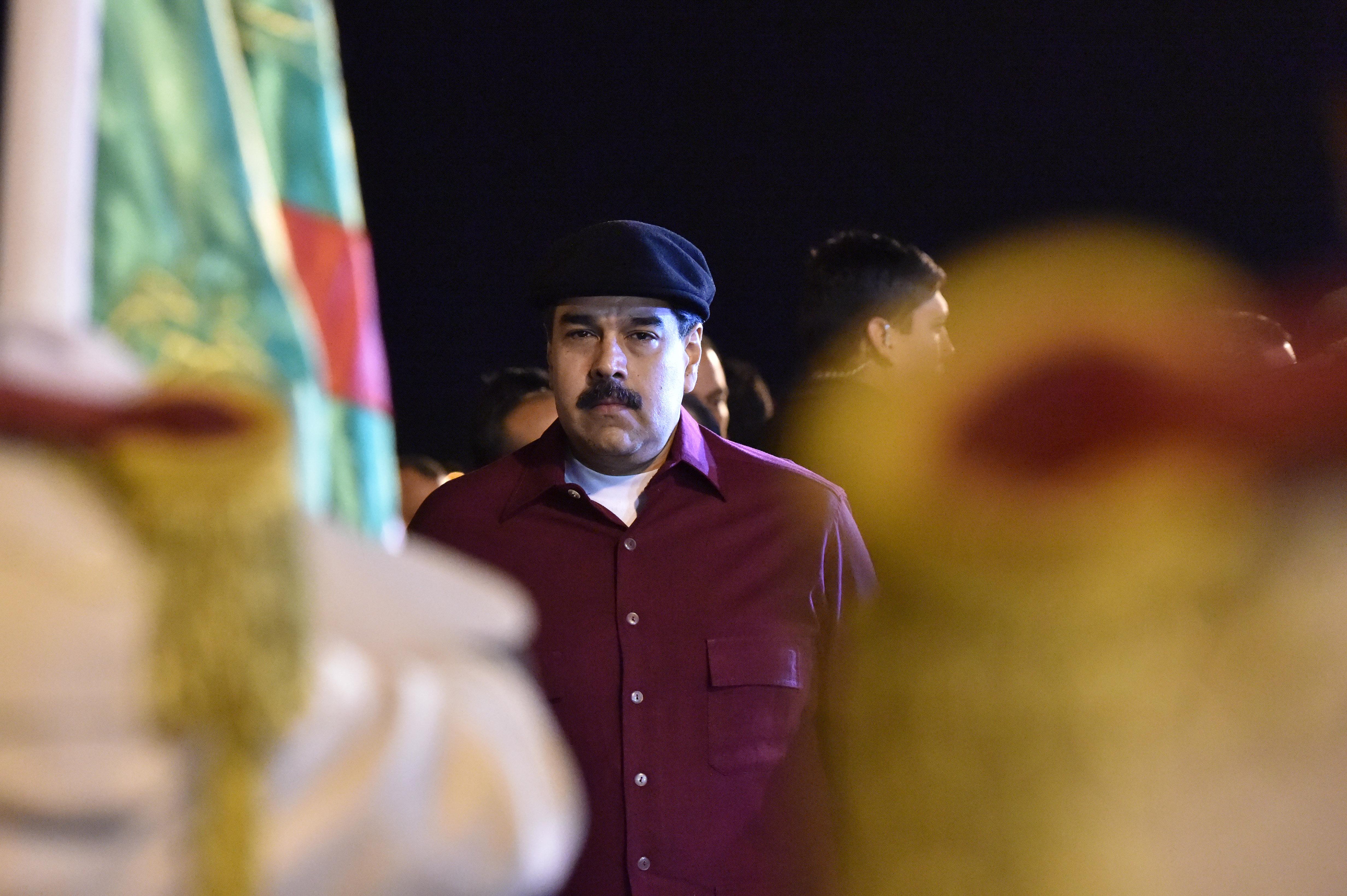 Venezuelan communist leader Nicolas Maduro arrives at the Houari Boumedien Airport in Algiers for a two-day visit on Sept. 10, 2017. (RYAD KRAMDI/AFP/Getty Images)