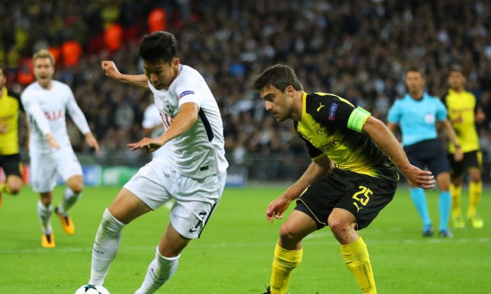 Heung-Min Son of Tottenham Hotspur FC in action during the UEFA Champion's League group H match between Spurs and Borussia Dortmund at Wembley Stadium on Sept 13, 2017 in London, United Kingdom. (Warren Little/Getty Images)