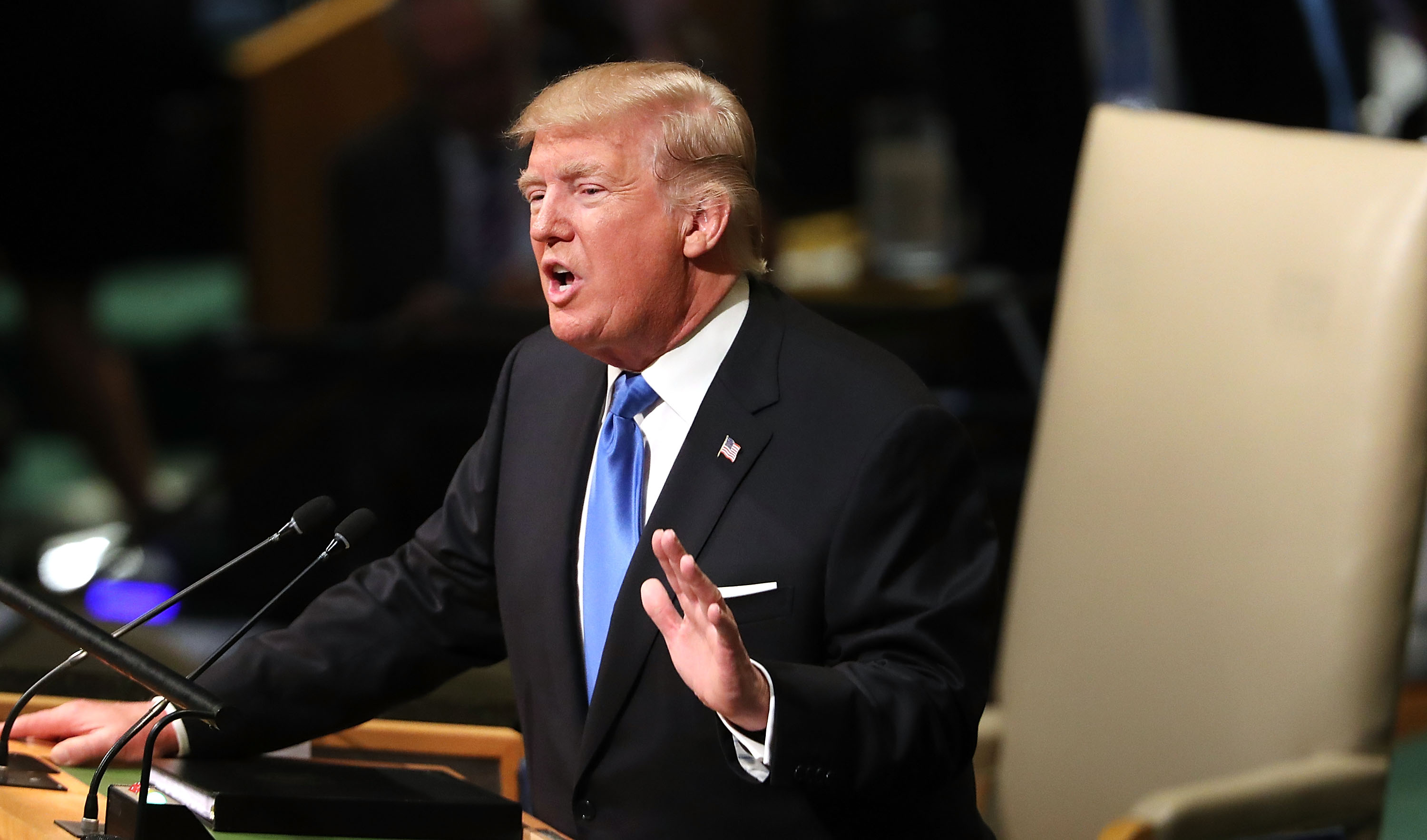 President Donald Trump addresses world leaders at the 72nd United Nations General Assembly in New York on September 19, 2017. (Spencer Platt/Getty Images)