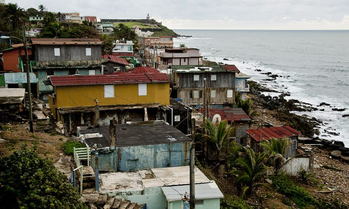 An historic shanty town overlooks the ocean at the San Juan National Historic Site in Old San Juan. Authorities in Puerto Rico are urging residents of poorly made houses to evacuate as Hurricane Maria sets a collision course with the U.S. island territory. (Eric Pancer/Wikimedia Commons)