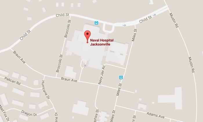 The location of the Naval Hospital Jacksonville. (Screenshot Via Googlemaps)