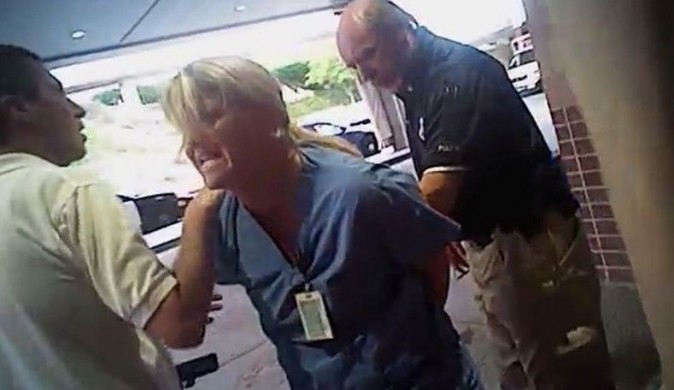 Nurse Alex Wubbels is arrested by a Salt Lake City police officer at University Hospital in Salt Lake City. (Screenshot)