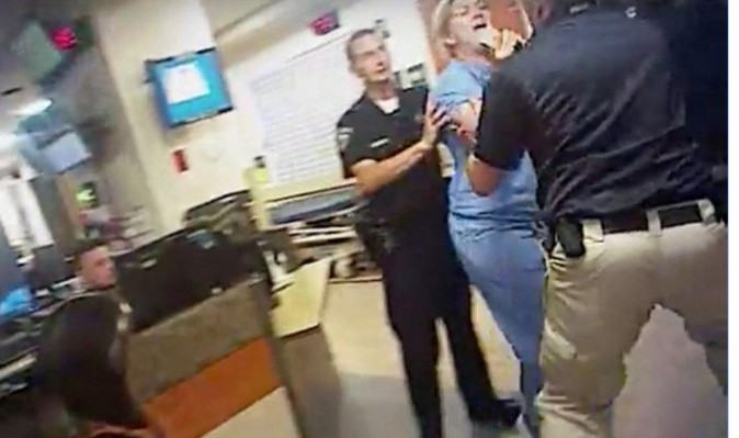 Nurse Alex Wubbels is shown during an incident at University of Utah Hospital in Salt Lake City, Utah, U.S., in this still photo taken from police body-worn camera video taken July 26, 2017 and provided September 1, 2017. Salt Lake City Police Department/Handout via REUTERS