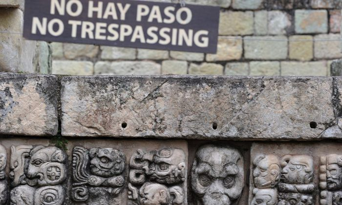 Picture taken at the Mayan archaeological site of Copan, near the border with Guatemala. (ORLANDO SIERRA/AFP/Getty Images)