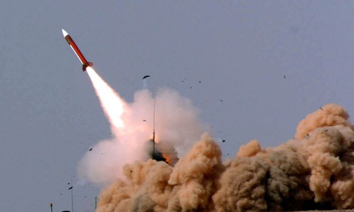 In this photograph provided by the Israeli Defense Forces (IDF), a Patriot missile is fired from a desert launch site April 12, 2005 in southern Israel. (IDF via Getty Images)