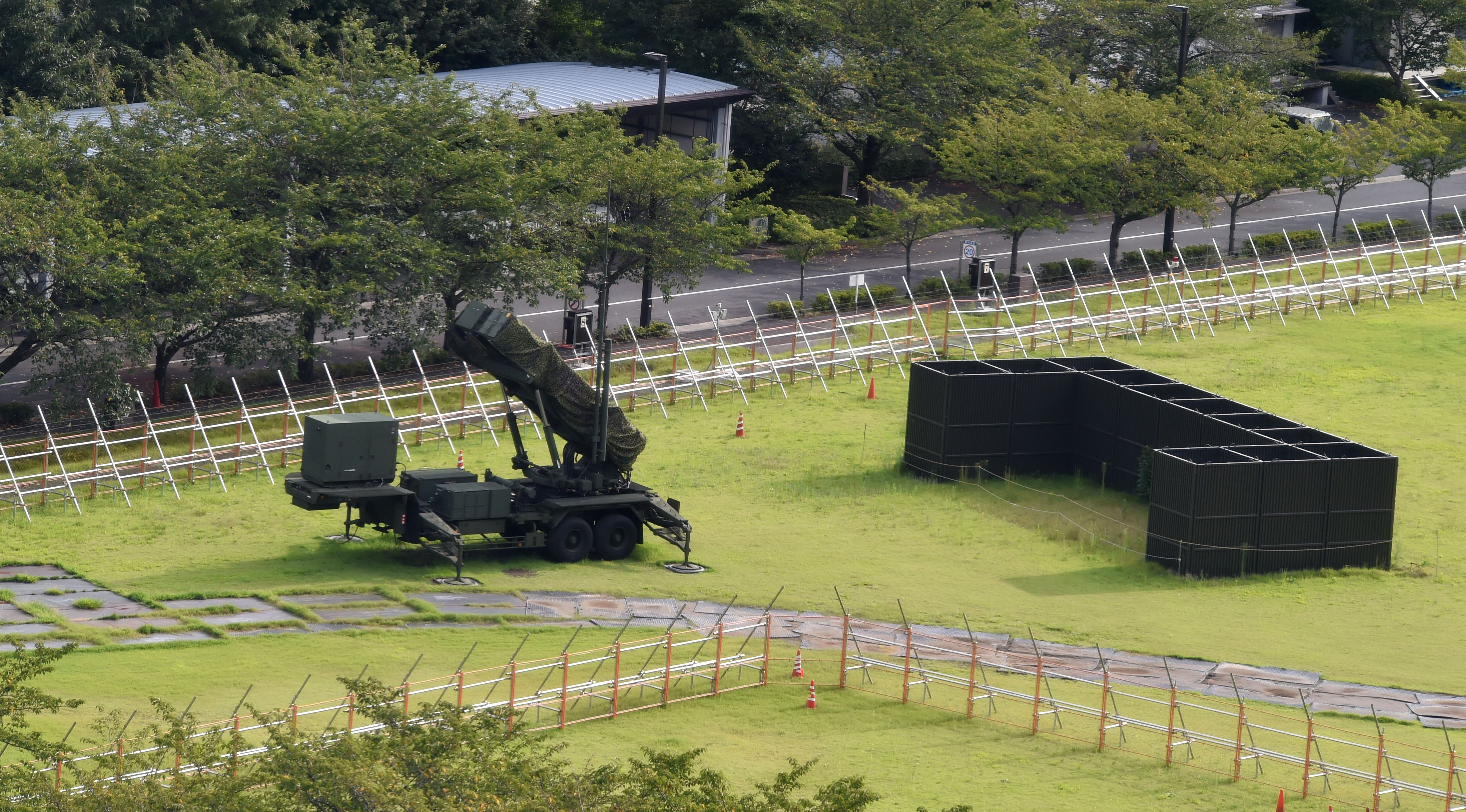 A Japanese Self-Defence Force Patriot Advanced Capability-3 (PAC-3) missile launcher is seen at its position in the Defence Ministry headquarters in Tokyo on September 15, 2017. North Korea launched a ballistic missile over Japan on September 15, which seems to have fallen on the Pacific Ocean, the Japanese government said in its official alert system. (TOSHIFUMI KITAMURA/AFP/Getty Images)