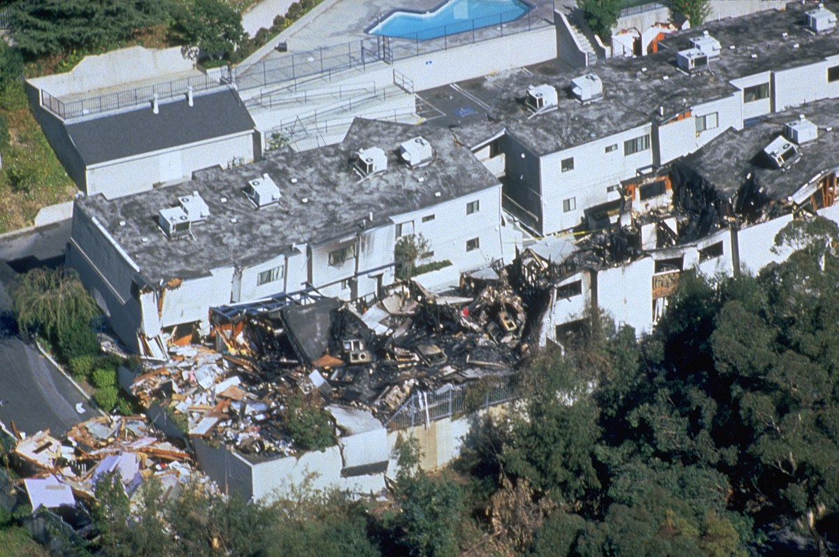 An aerial view of destruction caused by the 6.7 magnitude earthquake. Approximately 114,000 residential and commercial structures were damaged (FEMA News Photo)