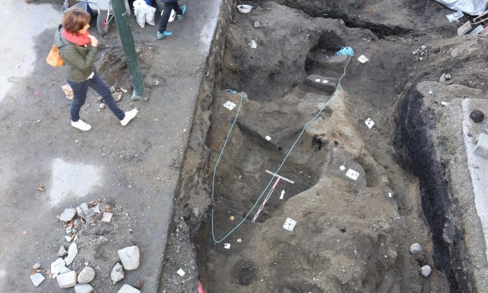 Remains of what archeologists believe is a Viking boat grave uncovered in the city of Trondheim, Norway, by a team at the Norwegian Institute for Cultural Heritage Research. (NIKU)
