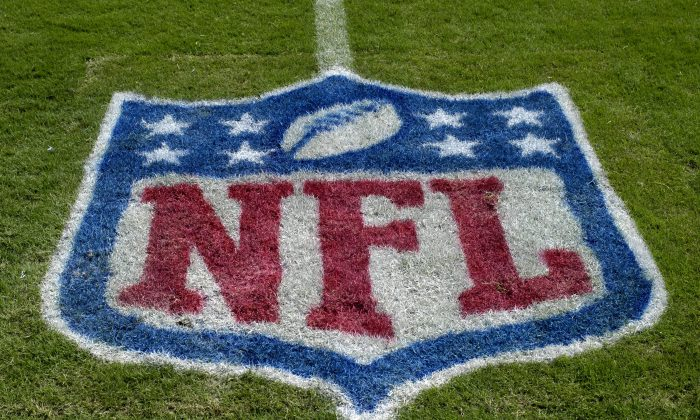 An NFL logo as the Tampa Bay Buccaneers host the Carolina Panthers at Raymond James Stadium on October 12, 2008 in Tampa, Florida. (Al Messerschmidt/Getty Images)