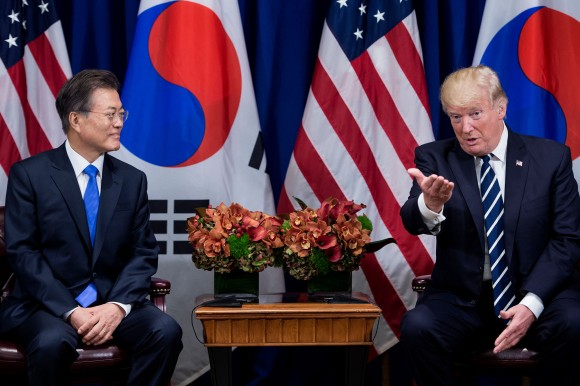 President Donald Trump and South Korea's President Moon Jae-in at the Palace Hotel in New York on Sept. 21, 2017. (BRENDAN SMIALOWSKI/AFP/Getty Images)