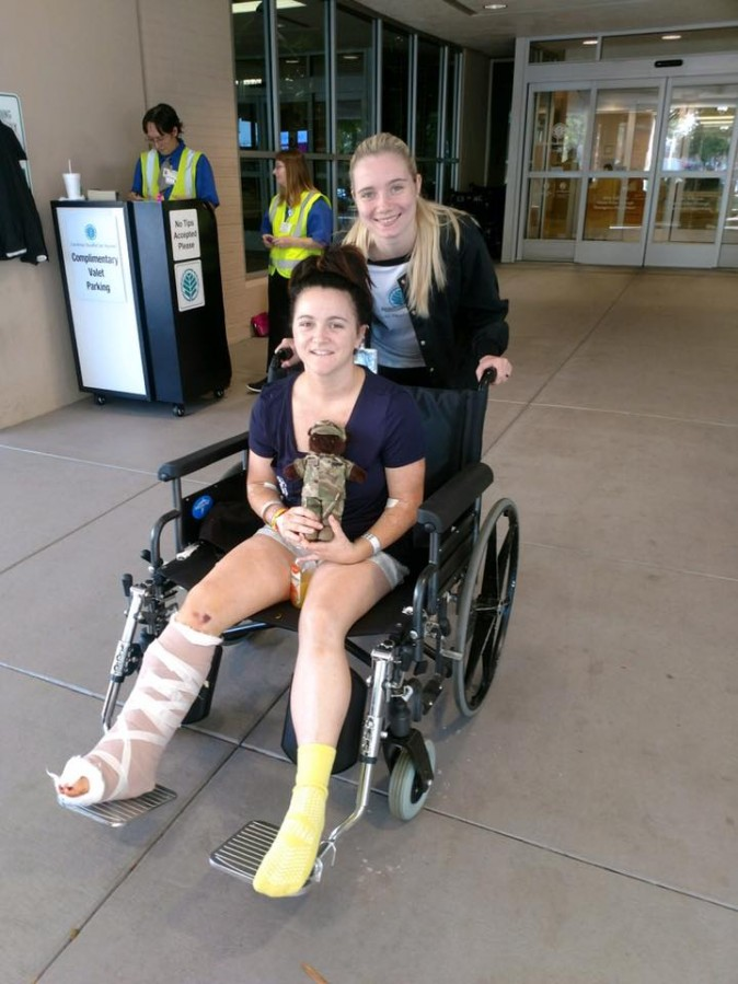 Brandy Guin on a wheelchair while being released from hospital in Shelby, N.C., on Sept. 22, 2017. (Courtesy of Brandy Guin)