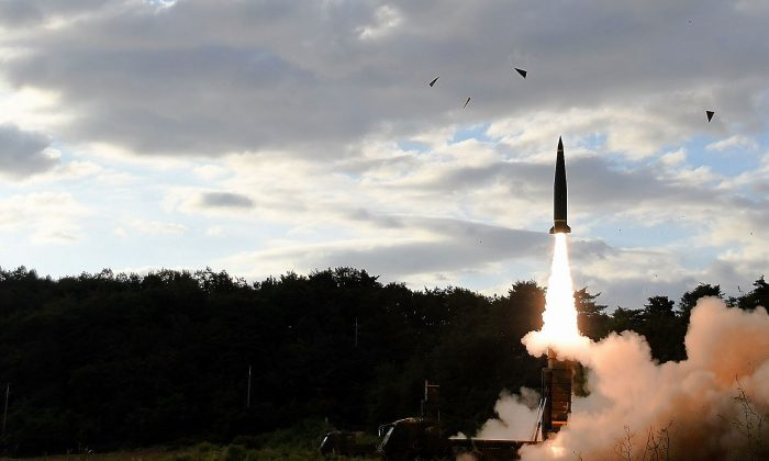 In this handout photo released by the South Korean Defense Ministry, South Korea's missile system firing Hyunmu-2 firing a missile into the East Sea during a drill aimed to counter North Korea's missile fires on September 15, 2017 in East Coast, South Korea. (South Korean Defense Ministry via Getty Images)