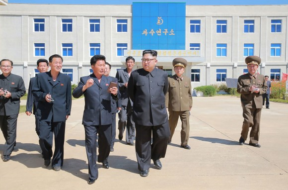 This undated picture released from North Korea's official Korean Central News Agency (KCNA) on September 21, 2017 shows North Korean leader Kim Jong-Un visiting the institute for research in the fruit farms at Kwail-?p County, South Hwanghae Province. (STR/AFP/Getty Images)