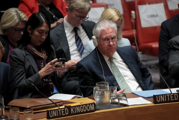 Secretary of State Rex Tillerson listens during a UN Security Council meeting concerning nuclear non-proliferation at the UN headquarters in New York on Sept. 21, 2017. (Drew Angerer/Getty Images)