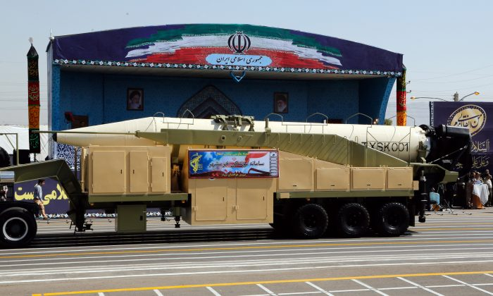 The new Iranian long range missile Khoramshahr is displayed during the annual military parade marking the anniversary of the outbreak of its devastating 1980-1988 war with Saddam Hussein's Iraq, on September 22,2017 in Tehran, President Hassan Rouhani vowed that Iran would boost its ballistic missile capabilities despite criticism from the United States and also France. / AFP PHOTO / str (Photo credit should read STR/AFP/Getty Images)