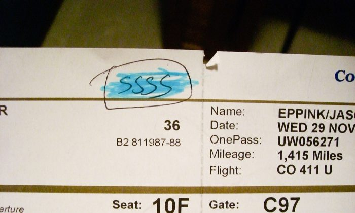 "The code ""ssss"" for Secondary Security Screening Selection on a boarding pass. (""Close up on the SSSS"" by Jason Eppink/Flickr ll CC BY 2.0         ( ept.ms/2haHp2Y)"