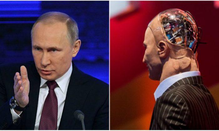 "(L) Russian President Vladimir Putin. (Natalia Kolesnikova/AFP/Getty Images) (R) ""Han the Robot."" (Isaac Lawrence/AFP/Getty Images)"