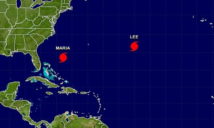 Hurricanes Maria and Lee in the Atlantic Ocean on Sunday, Sept. 24, 2017. (NHC / NOAA)