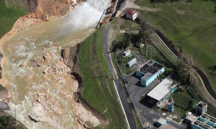An aerial view shows the damage to the Guajataca dam. REUTERS/Alvin Baez