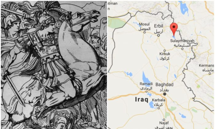 L: Circa 330 BC, Alexander the Great (356 - 323 BC) King of Macedonia, on his horse Bucephalus. (Hulton Archive/Getty Images); R: Approximate location of the ancient city at Qalatga Darband in Iraq. (Screenshot via Google Maps)