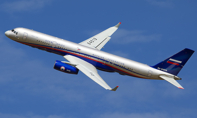 A Russian Air Force Tupolev Tu-214ON at Ramenskoye Airport in August, 2011. Russia flies the plane over military installations in United States under the Open Skies treaty meant to build trust and maintain transparency between Cold War opponents. The treaty comes under new strains as the United States imposes restrictions on Russia, alleging the Russian Federation has not met its compliance obligations under the treaty. (Oleg Belyakov/Wikimedia Commons)