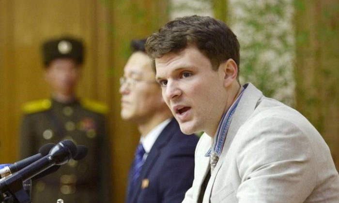 Otto Frederick Warmbier, a University of Virginia student who has been detained in North Korea since early January, attends a news conference in Pyongyang, North Korea, in this photo released by Kyodo Feb. 29, 2016. (Reuters/Kyodo)