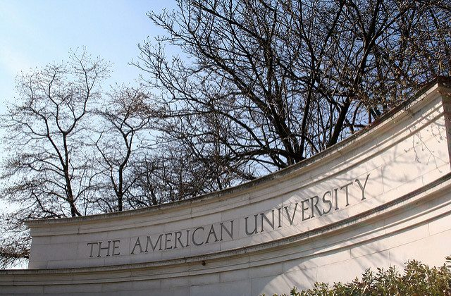 """A sign at American University. (""""AU sign"""" by Jake Waage/Flickr [CC BY-SA-2.0 (ept.ms/2utDIe9)])"""
