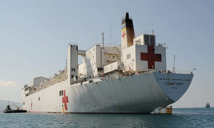 The USNS (United States Naval Ship) Comfort hospital ship is anchored off the coast of Port-au-Prince. (Stan Honda/AFP/Getty Images)