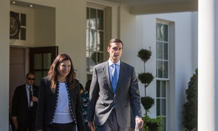 Acting Secretary of Homeland Security Elaine Duke and Homeland Security Adviser Tom Bossert arrive to give reporters an update about relief efforts for Puerto Rico, at the White House on Sept. 28, 2017. (Samira Bouaou/The Epoch Times)