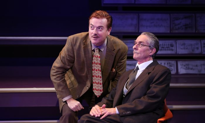 """(L–R) Mark Shanahan and Stephen D'Ambrose in """"Small World."""" (Carol Rosegg)"""