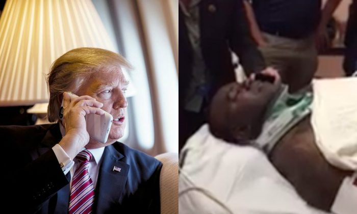 L: President Trump speaks on the phone aboard Air Force One in this file photo. (Courtesy White House) R: Indianapolis Metropolitan Police Department officer Robert Turner at Methodist Hospital as he receives a call from President Trump on Sept. 28. (IMPD)