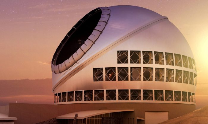 An artist's concept illustrating the TMT Observatory at the proposed site on Mauna Kea, Hawaii provided on Sept. 28, 2017.   (Courtesy of TMT Observatory/Handout via REUTERS)