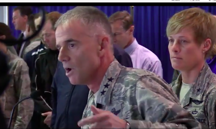 Lt. General Jay Silveria, the superintendent of the Air Force Academy in Colorado responds to racial slurs written in the dorms of black cadet candidates on Sept. 28, 2017. (Screenshot via Youtube/USAFAOfficial)