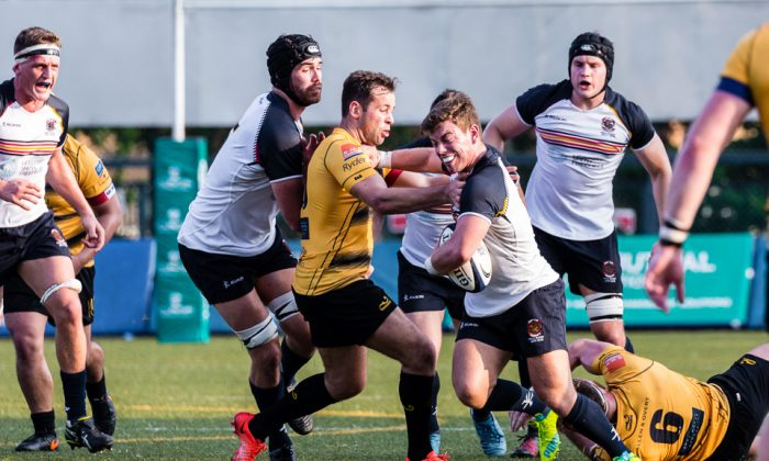 Action in the Tigers against HKCC match at King's Park on Saturday Sept 30, 2017 which was won by Tigers 29-16 hoisting them into second place in the table with 7 points while HKCC languish at the bottom with just 1 point. (Dan Marchant)