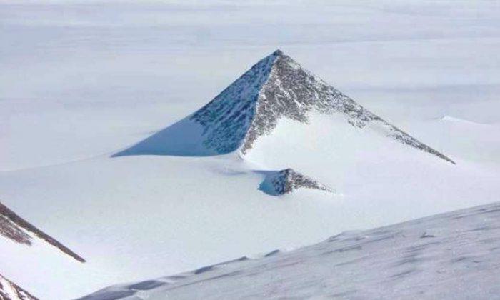 A pyramid-shaped mountain in the Ellsworth Mountain range of Antarctica. (Google Earth)