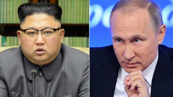 This combined photo shows North Korean leader Kim Jong-un (L) (KCNA via Reuters) and Russia President Putin (Natalia Kolesnikova/AFP/Getty Images)