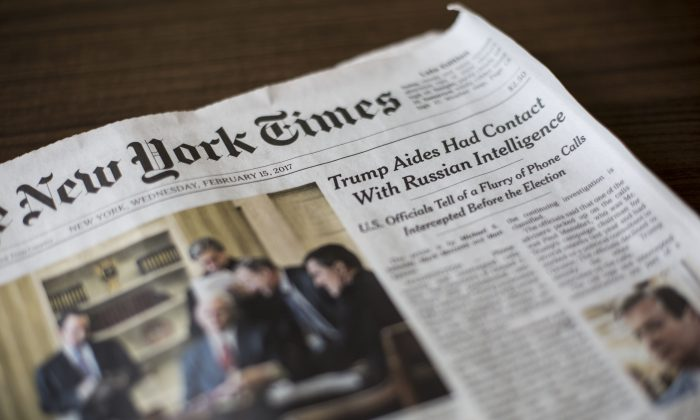 The Feb. 15 edition of The New York Times. The lead story in the paper alleging that the Trump campaign had contact with Russian intelligence officers was debunked by former FBI Director James Comey. (Samira Bouaou/Epoch Times)
