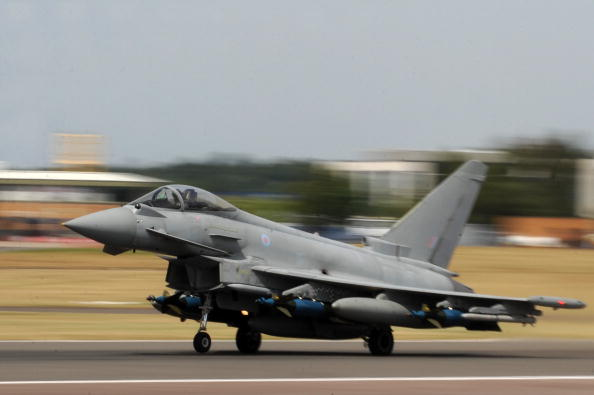 A BAE Typhoon takes off ahead of an air display at the Farnborough International Airshow in Hampshire, on July 20, 2010. (Ben Stansall/AFP/Getty Images)