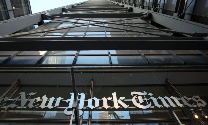 The New York Times headquarters in New York City in a file photo. (Mario Tama/Getty Images)